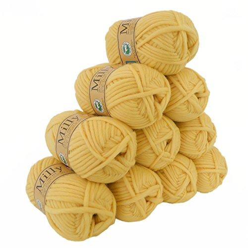 500g Filzwolle Milly Wolle zum Strickfilzen 100% Schurwolle, große Farbwahl, Farbe:25 mattgelb