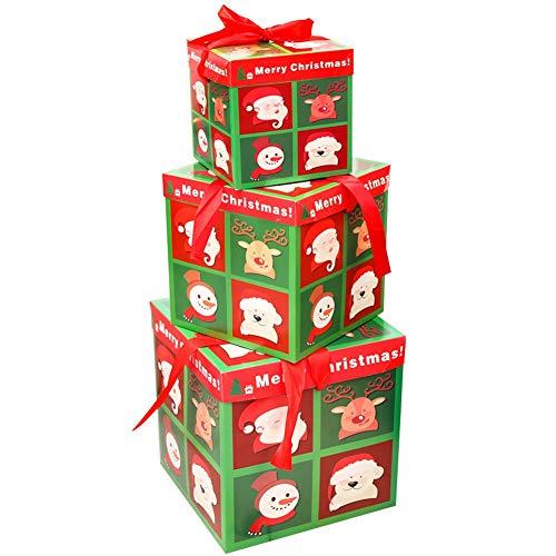 BETOY Scatole Regalo di Natale, 3 Pezzi Natale Scatole Regalo Confezioni Regalo per Articoli Natalizi Scatole di Carta Natalizie per Decorazione di Feste di Natale, Albero di Natale, Regali,a Scacchi