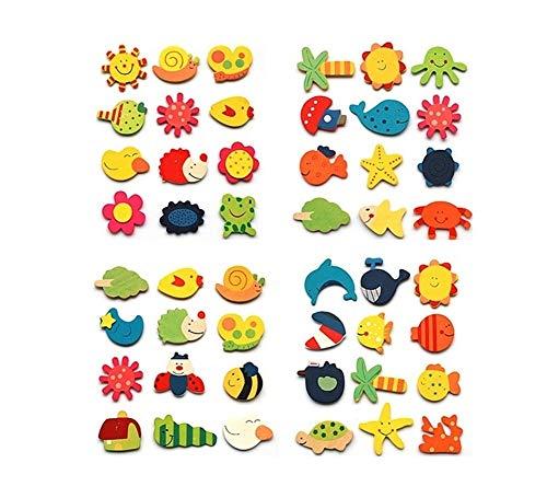 JSNRY 12pcs / Lot Refrigerador Pegatinas de Dibujos Animados de Animales de Madera Nevera Imán niños de Juguete Colorido Hermosa y práctica ( Color : Multi-Colored )