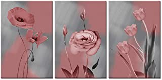 Visual Art Decor Pink Floral Wall Art Tulips Poppy Flowers Picture Grey Canvas Prints for Modern Home Living Room Bedroom Dining Room Decoration Ready to Hang (04 Pink)