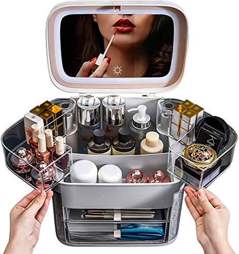 Multifunctional Cosmética de luz LED con caja de almacenamiento cosmético de espejo...