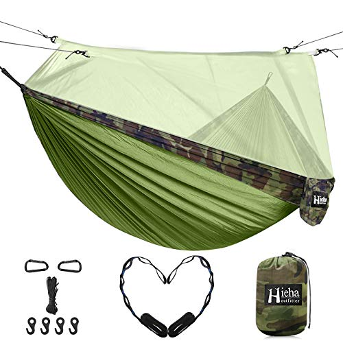 Hieha Double Camping Hammock with Mosquito Net, Portable Nylon Hiking Hammocks for Trees, Travel Outdoor Gear Camping Essential Hammock for 2 Adults(Green)