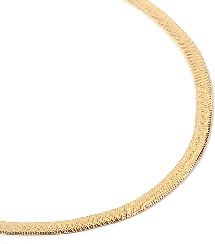JustMoMoMin Simple Fashion Shiny Metal Snake Chain Choker Adjustable Necklace for Men Women Boys and Girls