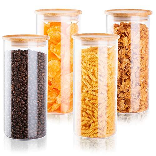 Falkenbach Vorratsgläser Set 4X Größe L je 1,5 Liter Vorratsdosen aus Glas mit Bambusdeckel Vorratsbehälter aus Glas rund mit Deckel aus Holz, luftdicht (Bambus, 4X Größe L)
