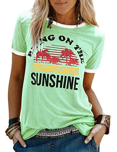 Dresswel Damen Bring On The Sunshine T Shirt Kurzarm Rundhals Regenbogen Top T-Shirt Sommer Oberteile Oben Hemd