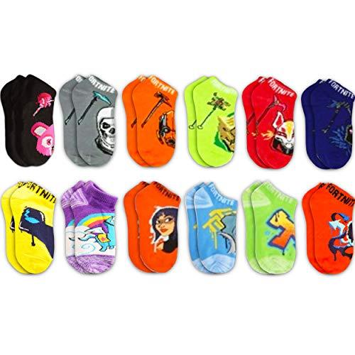 Fortnite Party Supplies Bundle Fortnite Merchandise Set for Boys Girls - 12 Pack Fortnite Socks Size S/M for Kids Fortnite Party Supplies (Fortnite Clothes)