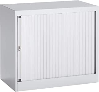 Bisley Armoire à rideaux Euro, largeur 800 mm, 1 tablette, gris clair - Armoire Armoire métallique Armoire à rideaux Armoi...