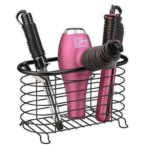 mDesign Fönhalter ohne Bohren für das Badezimmer – praktische Fönablage aus Metall – Glätteisen oder Fön Aufbewahrung für den Waschtisch oder das Regal – schwarz