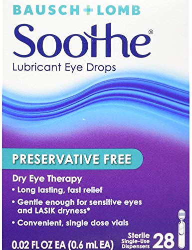 Bausch + Lomb Soothe Preservative-Free Lubricant Eye Drops, Box of 28 Single Use Dispensers (Pack of 2)