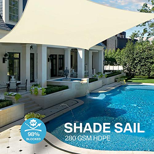 Yeahmart Sun Shade Sail Water Resistant Outdoor Garden Patio Yard Party Sunscreen Awning Canopy 98% UV Block Rectangle With Free Rope (4x3m, Cream)