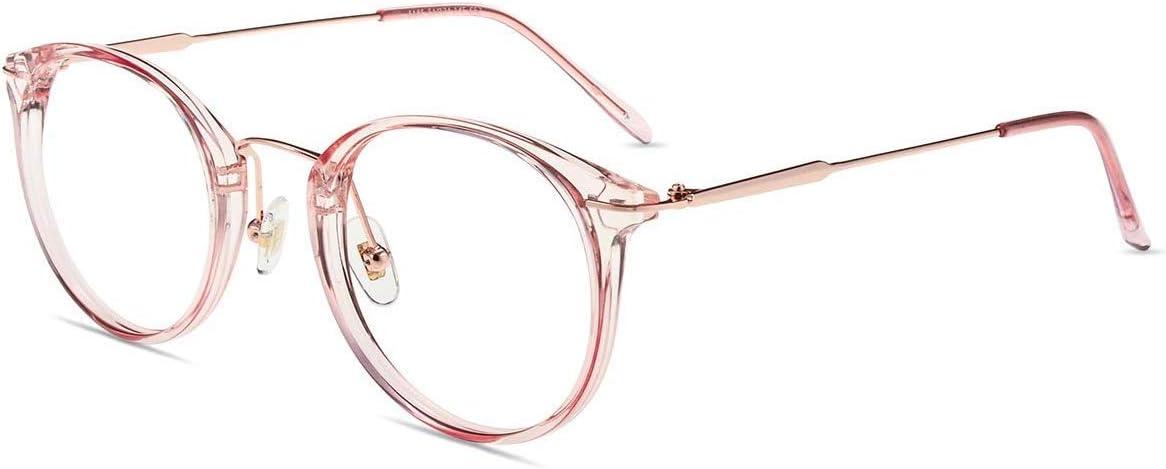 firmoo Gafas Luz Azul para Ordenador Gaming UV Filtro Proteccion Ojos Antifatiga Gafas para Mujer Hombre,Gafas Montura Redondo Clásico, S185 Dorado Rosa