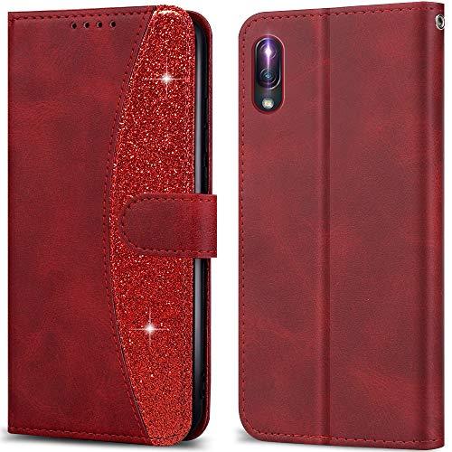 LEBE Handyhülle für Sony Xperia L3 Hülle Leder, Flip Etui Handytasche Schutzhülle [Kartenfach] [Magnetverschluss] für Sony Xperia L3 -Rot