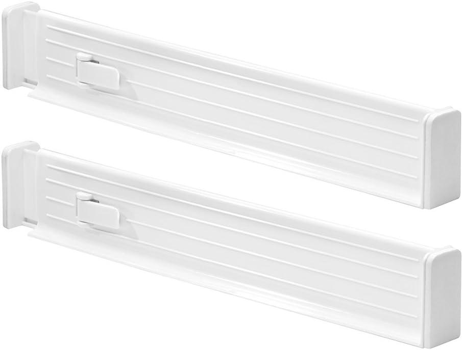 Bianco 6.35x34.61x52.71 cm Regolabile InterDesign Linus Confezione da 2 Divisore Organizzatore da Cassetto