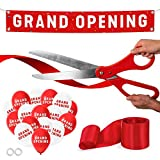 Nashira Ribbon Cutting Ceremony Kit, 25' Giant Scissors with Red Satin Ribbon, Grand Opening Banner & Balloons - Heavy Duty Metal Scissors for Special Events, Inaugurations & Ceremonies