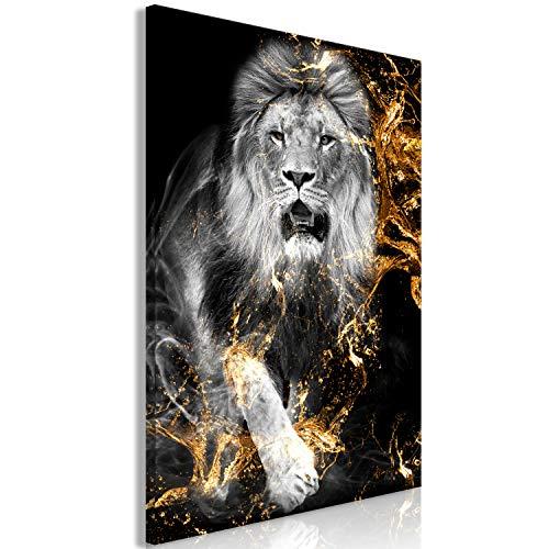 murando Cuadro en Lienzo Leon 60x90 cm 1 Parte Impresión en Material Tejido no Tejido Cuadro de Pared impresión artística fotografía decoración Animales Abstracto Negro Oro Retrato g-C-0310-b-a