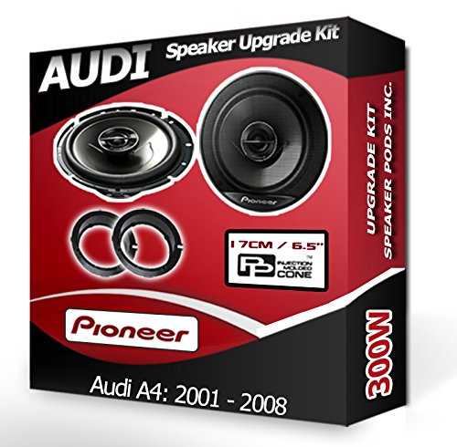Pioneer Altavoces para Puerta Delantera de Audi A4Coche Kit de Altavoces + Aros adaptadores, 240W