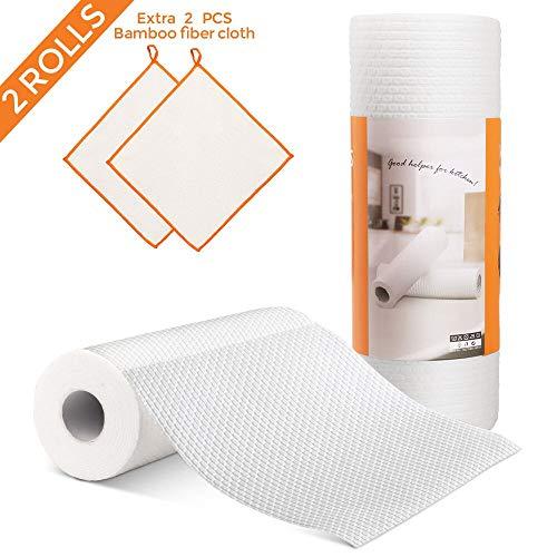 MASTERTOP Wegwerp Niet Geweven Keuken Schoonmaak Doek 2 Wiping Rolls Herbruikbare Natuurlijke Vezel Rags voor Keuken Badkamer Vloervenster met Extra 2 Bamboe Fiber Dish Handdoeken