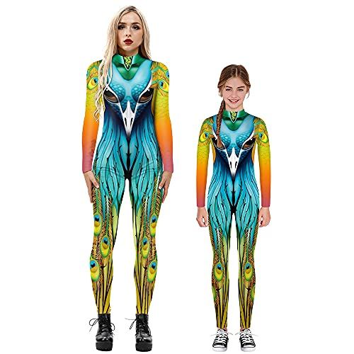 Parent-child Long-sleeved Jumpsuits 3D Peacock Printed Jumpsuit Halloween Cosplay Costume Adult Kids (6,Adult-L)