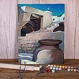 Zdklfm69 Pintar por Numeros Pintura por Números Paisaje Antigua Grecia Kit Completo de Bricolaje Pinturas acrílicas Pintura sobre Lienzo Decorativo (Sin Marco) 40x50cm