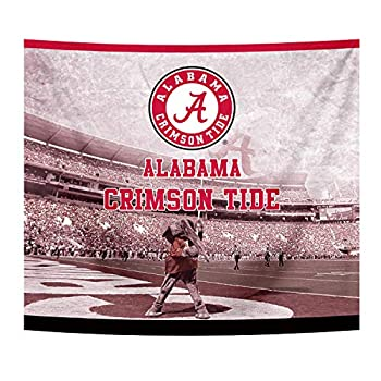University Sports Printed Tapestry Wall Hanging Flag Fan Shop Spirit Plush Multi Color Colored Decor Design Decorations for Bedroom Living Room 50  x 60  Inches  Alabama Crimson Tide