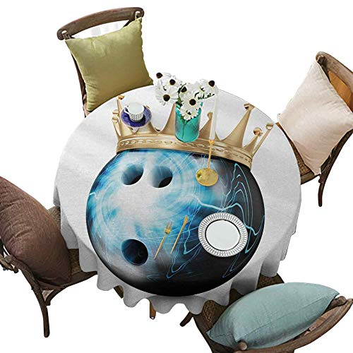 Tablecloth, Crown on Artistic Ball Bowling King Champion Victory Theme Print, 63 Inch Round Washable Table Cover for Indoor and Outdoor, Sky Blue Black Gold