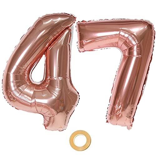 Globos con el número 47, número 47, color oro rosa, globos de 47 cumpleaños, globos de 47 cumpleaños de color oro rosa, número 47, globos grandes de 32 pulgadas, globos gigantes