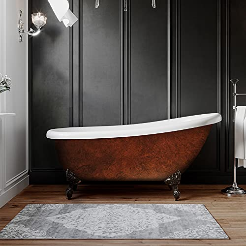 Acrylic 61 Inch Faux Copper Clawfoot Bathtub Without Faucet Holes-