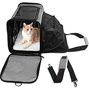PrimePets Cat Carrier, TSA Airline Approved Pet Carrier Bag for Small Dogs, Puppies, Kittens, Expandable Soft Sided Cat Carrying Case for Travel, Collapsible, Foldable, Gray