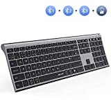 Multi-Device Bluetooth Keyboard, Jelly Comb KUS-015B-3 Wireless Keyboard Ultra Slim Rechargeable Full Size