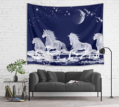 Tapeçaria de cavalo Galope HVEST Animais Tapeçaria de Parede Lua e Estrela no Céu Estrelado Tapeçarias para Quarto, Sala de Estar, Dormitório, Festa de 203 cm L x 152 cm A