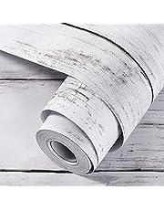 壁紙 シール Harmn home 厚手 はがせる リメイク シート カッティングシート 木目 貼ってはがせる 防水 シート 厚さ:0.13mm 幅44.5cm 長さ10m (白グレー 楓 木目調)