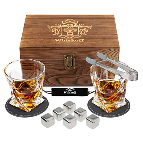 Whiskey Glass Set - Whisky Chilling Stainless Steel Ice Cubes of 6 - Bourbon Glasses Gift Set - Scotch Metal Ice Cubes - Whiskey Set Gift Box - Whiskey Gifts for Men - Whiskey Stones Gift Set for Men