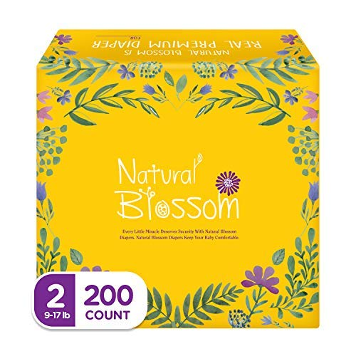 Natural Blossom Baby Diapers Size 2 (9-17lbs) Super Soft Hypoallergenic Ultra-Slim Disposable Diapers for Sensitive Skin (200 Diapers)