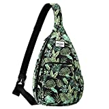 HAWEE Sling Bags for Women Waterproof Crossbody Daypack with USB Charging Port, Banana Leaf