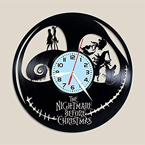 TZMR Vinyl Record Wall Clock Christmas Eve Series Vinyl Record Home Decoration Gift Ideas Wall Sticker Love Story Jack and Sally's exquisite home decoration best gifts
