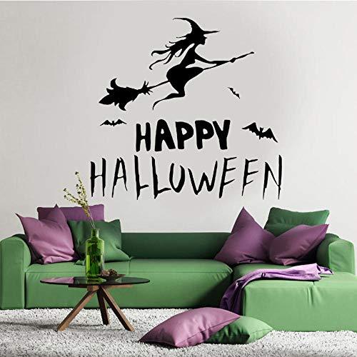 Pegatinas De Pared Bedom wallpaper Happy Halloween Witch Bat Wall Sticker Vinilo Decoración Para El Hogar Sala De Estar Niños Dormitorio Calcomanía Ventana Extraíble Mural Interior Art 3730 @ _60X57Cm