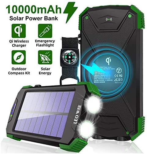Solar Charger, 10000mAh Solar Power Bank, Qi Wireless Charger, Portable Charger for iPhone, External Battery Pack, Dual… 2