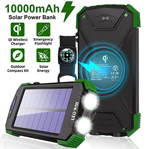 Solar Charger 10000mAh, Portable Solar Power Bank IPX4 Waterproof Outdoor Travel Qi Wireless Solar...