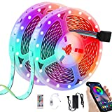 32.8ft LED Strip Lights with Bluetooth, Magicmoon Smart 10m RGB Lights APP Control Sync to Music, Multi-Color Changing Rope Led Lights for TV, Bedroom, Home, Party Decoration (2x16.4ft)