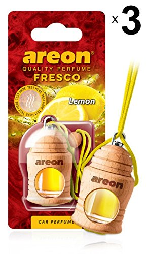Areon Fresco Ambientador Limon Coche Casa Olor Cítrico Perfume Liquido Botella Mini Original Madera Colgar Colgante Amarillo Retrovisor Oficina 3D 4ml ( Lemon Pack de 3 )