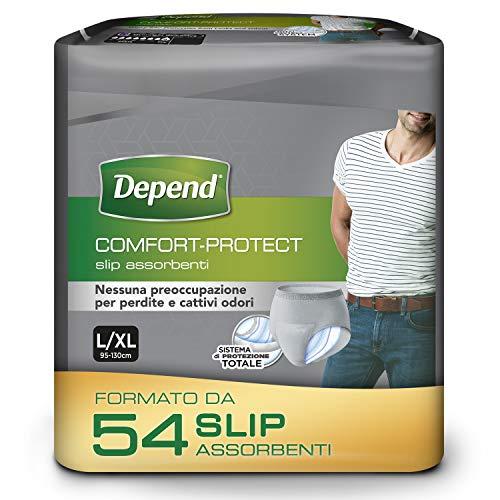 Depend Comfort-Protect Slip Assorbenti Uomo, Taglia L/XL, 54 Slip