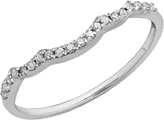 0.12 Carat (ctw) Round White Diamond Ladies Stackable Wedding Contour Guard Band, 10K Gold