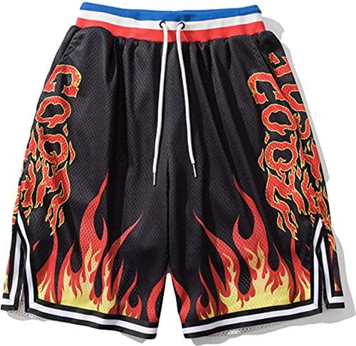 yixuwnuio Pantalones cortos deportivos impresos a juego de color de los hombres cintura elástica suelta de moda