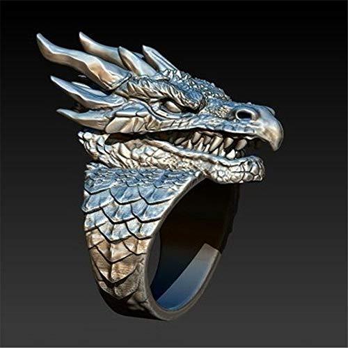 Dominante Anillo De La Personalidad Creativa De Plata Feroz Dragón De Los Hombres del Anillo del Grifo De Sonar, 13