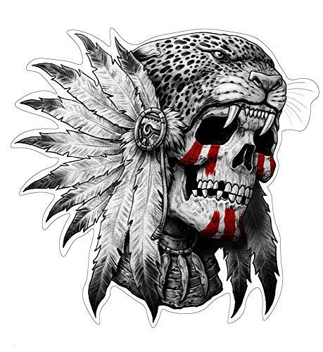 stickerdealer_chupacabra Native Jaguar Skull Aufkleber Sticker Schädel Indianer Totenkopf ca. 10x10 cm Federschmuck Katzen