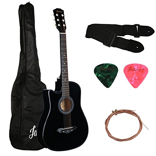 Juarez Acoustic Guitar, [ LEFT HANDED] 38 Inch Cutaway, 38CL/BK with Bag, Strings, Pick and Strap, Black