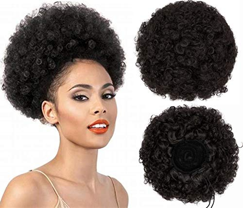 Afro Puff Kinky Curly Drawstring Ponytail Bun Synthetic Hair for African...