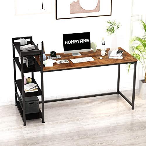HOMEYFINE JOISCOPE Escritorio de Computadora, Mesa Industrial, Escritorio de Oficina en Casa de 60 Pulgadas con Estantería de Metal y Madera (Acabado de Roble Vintage)