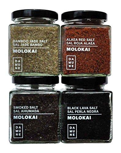 Gourmetsalz Molokai-Hawaii: Schwarzes Salz Black Lava Hawaii-Molokai (200g), Rotes Salz Alaea Red Gold Hawaii-Molokai (200g), Salz Jade Bamboo Hawaii-Molokai (200g), Rauchsalz Hawaii-Molokai (200g)