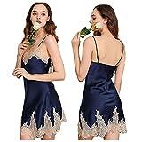 女性用シルクパジャマ、1ピーススカートナイトドレス、レースの縁、シルク100%(メインファブリック)、3色、真丝睡裙 (ブルー, M)